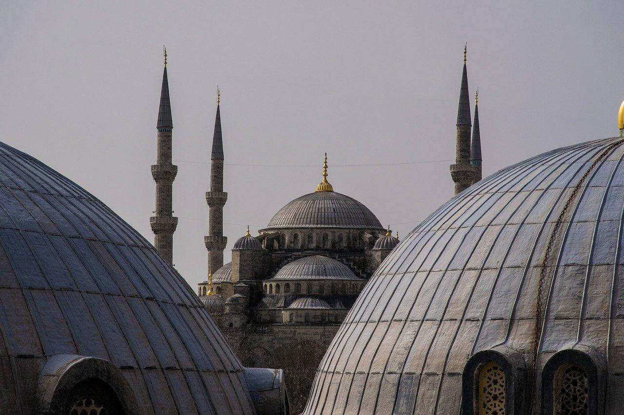 Dome and towers of an Ottoman-era mosque.